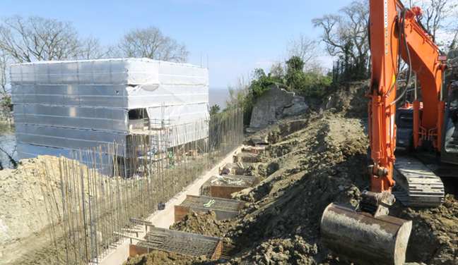Terraces start to take shape in the cliff top at Sainte Adresse